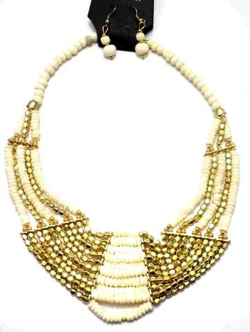 Beaded Necklace For Girls White