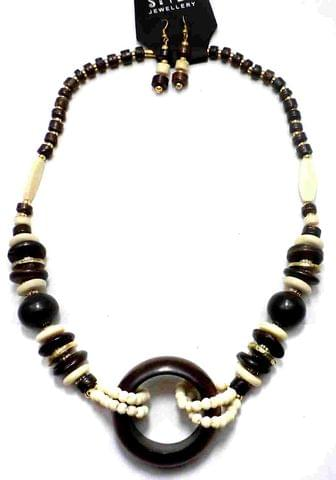 Beaded Necklace For Girls Green White and Black