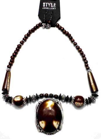 Beaded Necklace For Girls Brown