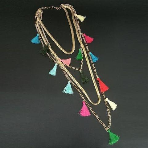 Gold Plated Multicolor Silk Thread Layer Necklace