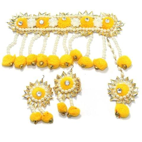 Gotta Patti Necklace Set with Mangtikka, Earrings and Ring Yellow