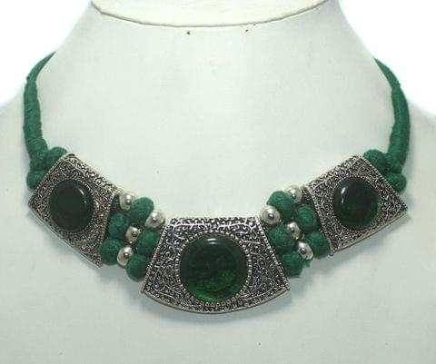 German Silver Choker Necklace Green