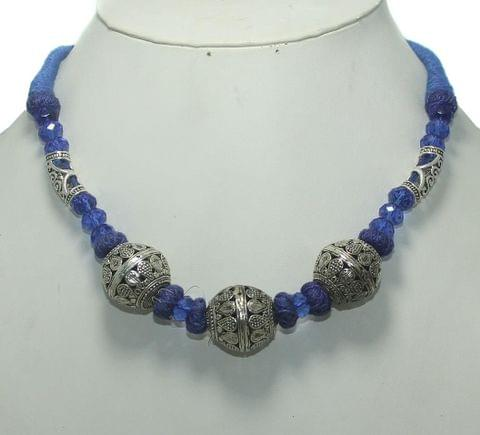 German Silver Necklace Blue