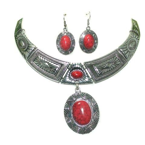 Red Turquoise Stone Rhodium Plated Statement Necklace