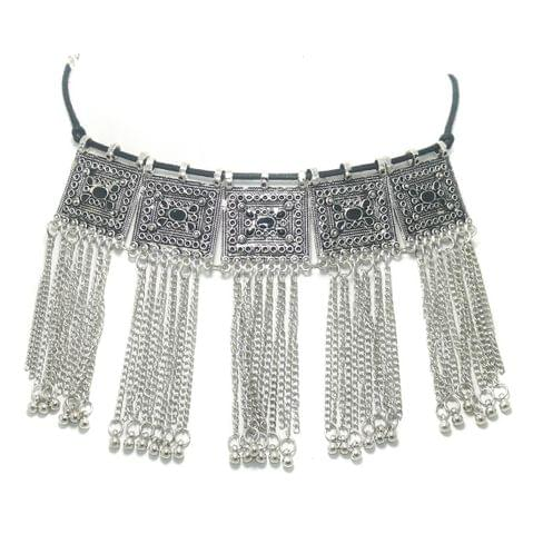 Designer Chokar Necklace Silver Black