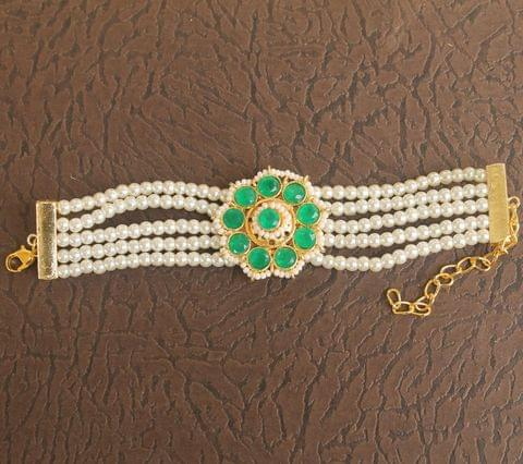 Glass & Kundan Beaded Designer 4 Layer Bracelet