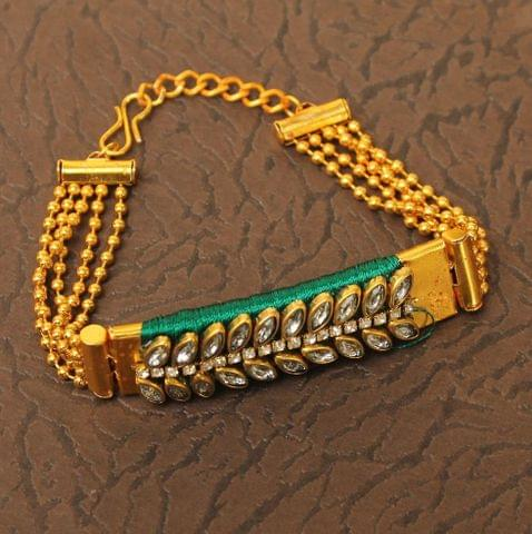 Kundan Silk thread Adjustable Bracelet Green