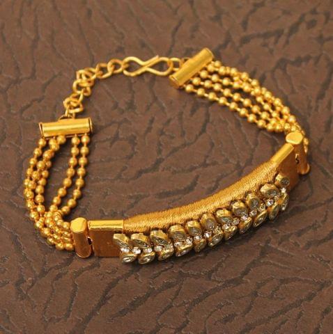 Kundan Silk thread Adjustable Bracelet Golden