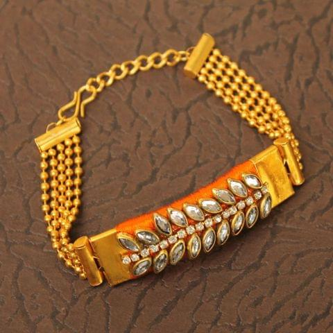 Kundan Silk thread Adjustable Bracelet Orange