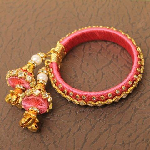 Designer Kundan Silk thread Adjustable Bracelet With Latkan Pink