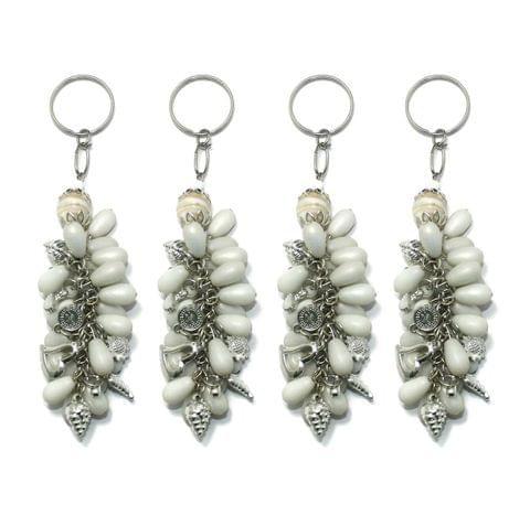 4 Pcs. Glass Beads Key Chains White