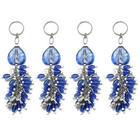 4 Pcs. Glass Beads Key Chains Blue