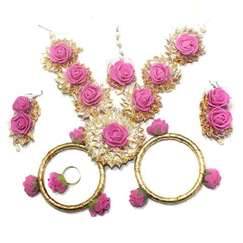 Gotta Patti Necklace Set with Mangtikka, Earrings, Ring and Bangle Pink