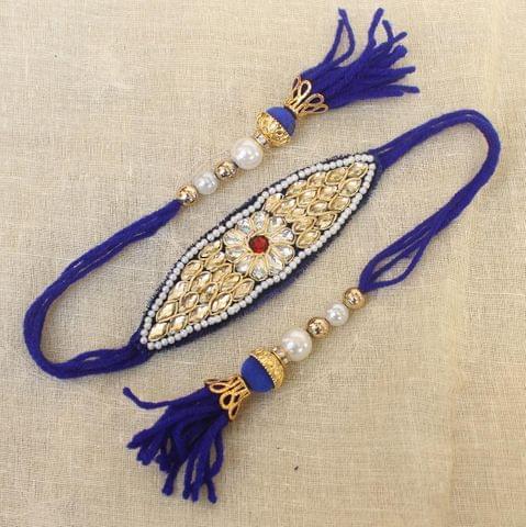 Thread Kundan Beaded Bajuband Blue