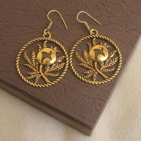 German Silver Flower Earring Gold