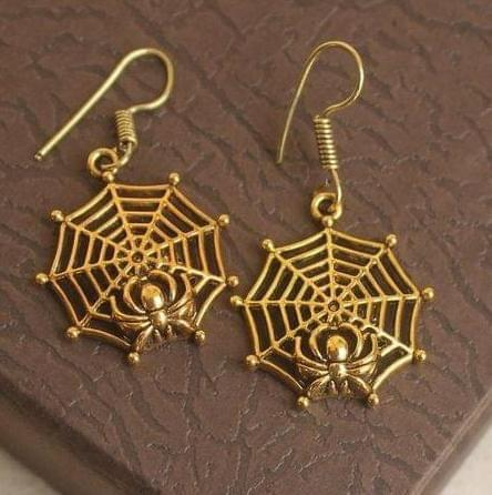 German Silver Spider Earring Gold