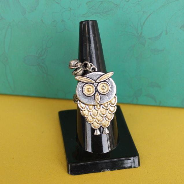 Dual Tone Owl Adjustable Ring