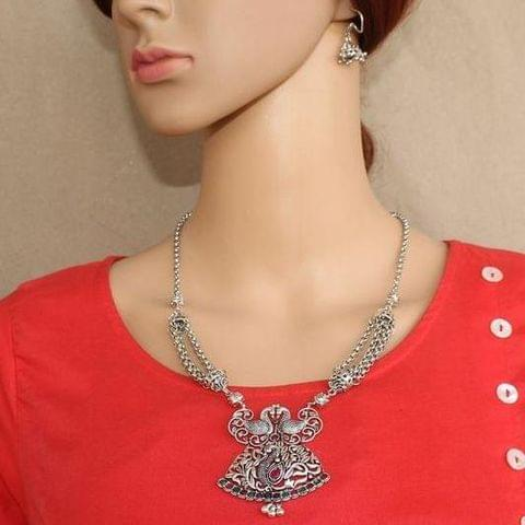 German Silver Stone Necklace with Earring