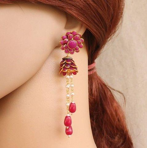 Designer Beaded Crystal Pacchi Earring