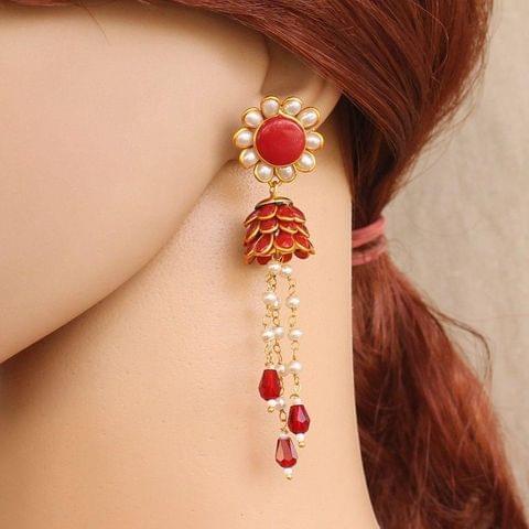 Designer Beaded Crystal Pacchi Earring