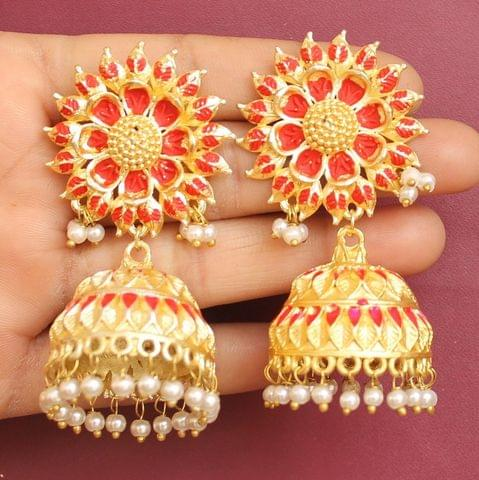 Matte Finish Meenakari Ethnic Designer Jhumka Earrings