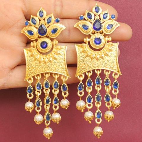 Matte Finish Stone Ethnic Earrings Blue