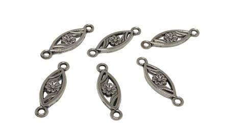 Aumni Crafts Jewelry Mini Pendant Alloy Charms 24x7x2mm Flower Antique Silver Color (Pack of 20 pieces)