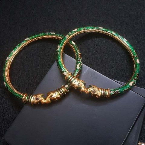 Green Meenakari Bangles For Girls / Women