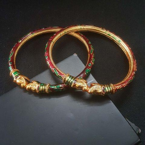 Red Meenakari Bangles For Girls / Women