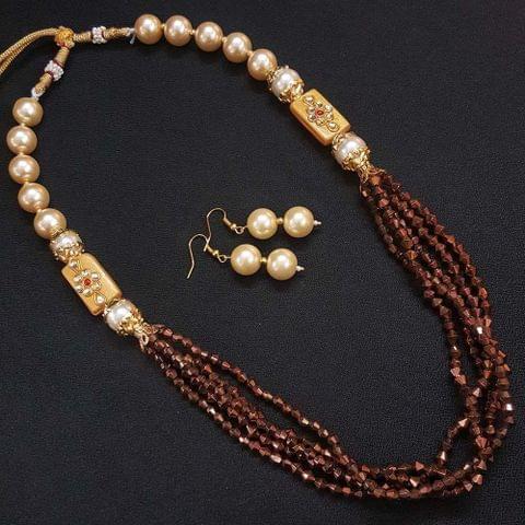 Gold Beaded Kundan Work Kantha Necklace For Girls With Adjustable Dori