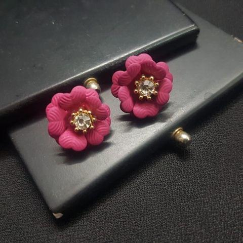 Designer Dark Pink Flower Earrings