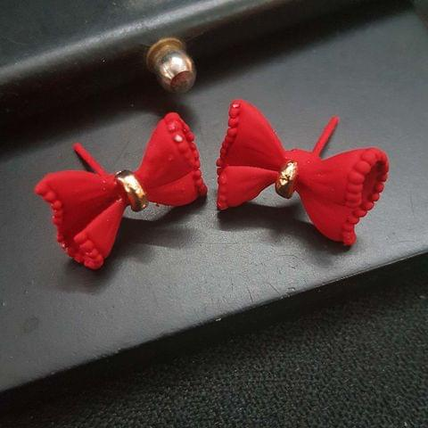 Beautiful Bow Stud Small Red Earrings