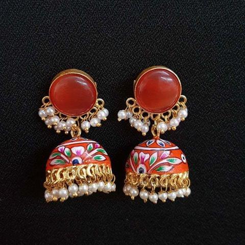 Orange Painting Jhumki Earrings With Pearl Beading