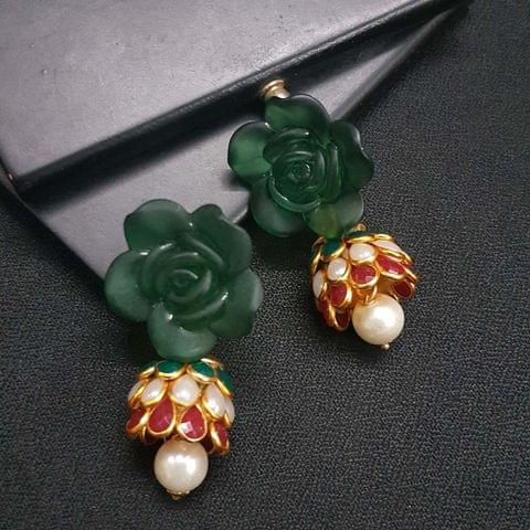 Green Floral Stud Pachhi Jhumki