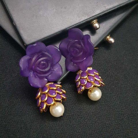Purple Floral Stud Pachhi Jhumki