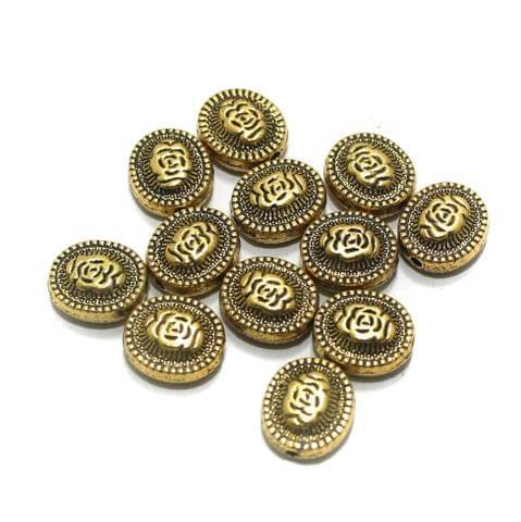 20 Pcs Golden German Silver Beads 12x5mm