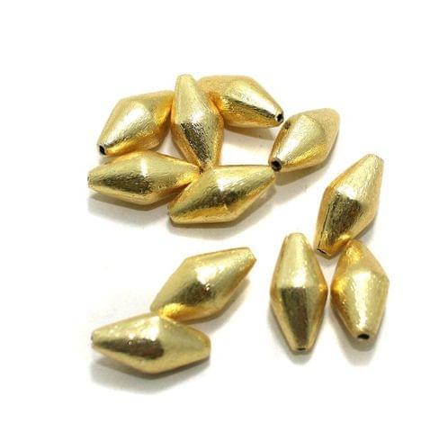 20 Pcs Golden German Silver Dholki Beads 20x10mm