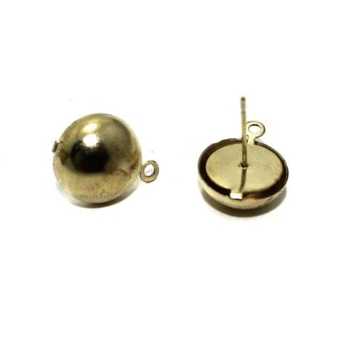 Golden Earrings Components Studs 5 Pairs 12mm