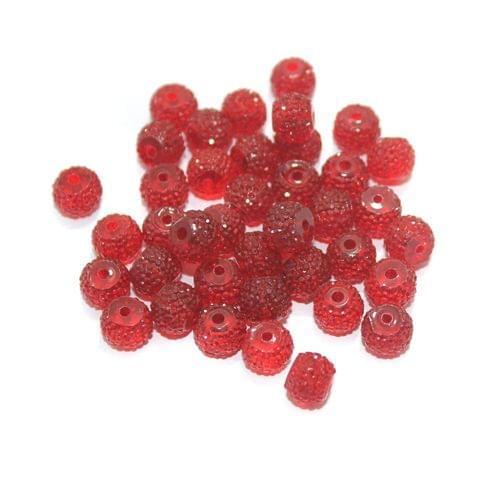 100 Pcs Acrylic Sugar Beads 7x8mm Red