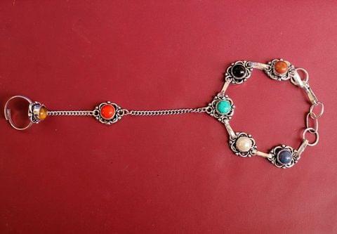 German Silver Stone Beaded Hathphool Multicolor