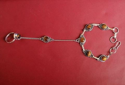 German Silver Stone Beaded Hathphool Golden