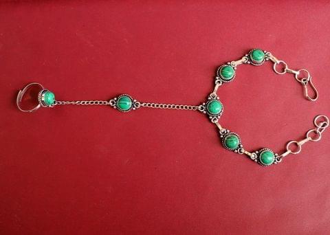 German Silver Stone Beaded Hathphool Turquoise