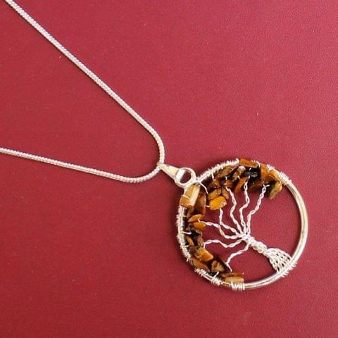 German Silver Chain With Tree Of Life Pendant Golden