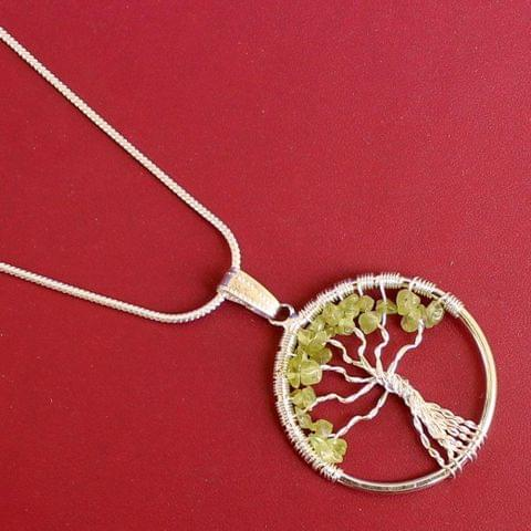 German Silver Chain With Tree Of Life Pendant Parrot Green