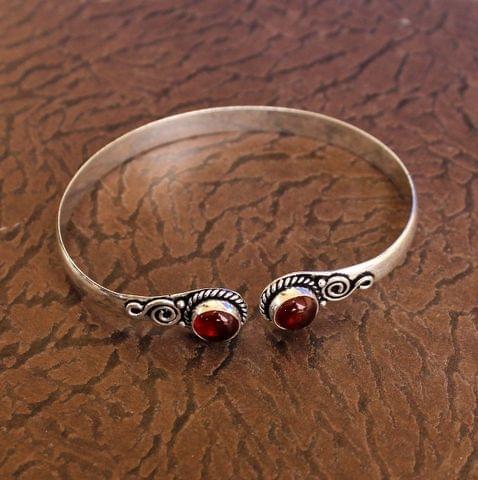 German Silver Adjustable Stone Bracelet Maroon