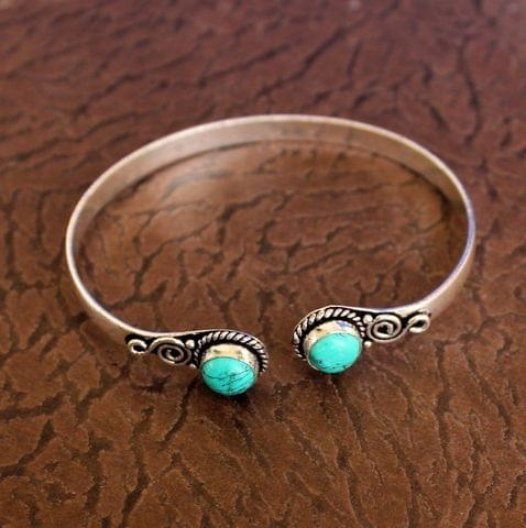 German Silver Adjustable Stone Bracelet Turquoise