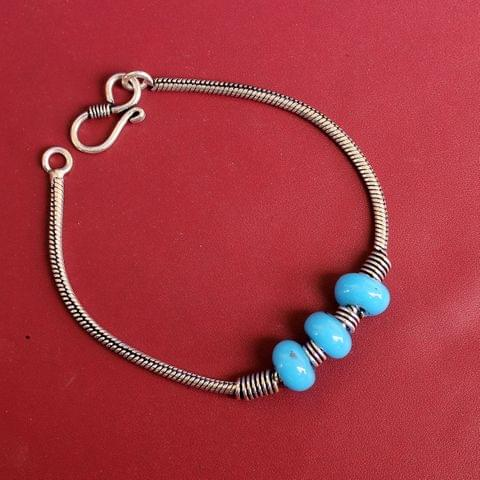 German Silver Trendy Beaded Bracelet Turquoise
