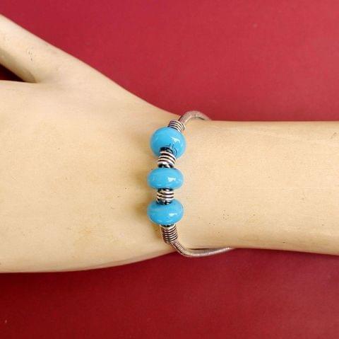 German Silver Trendy Beaded Bracelet Turquoise