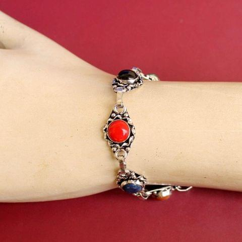 German Silver Stone Beaded Trendy Bracelets Multicolor