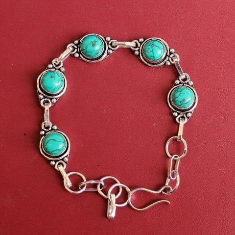 German Silver Stone Beaded Trendy Bracelets Turquoise